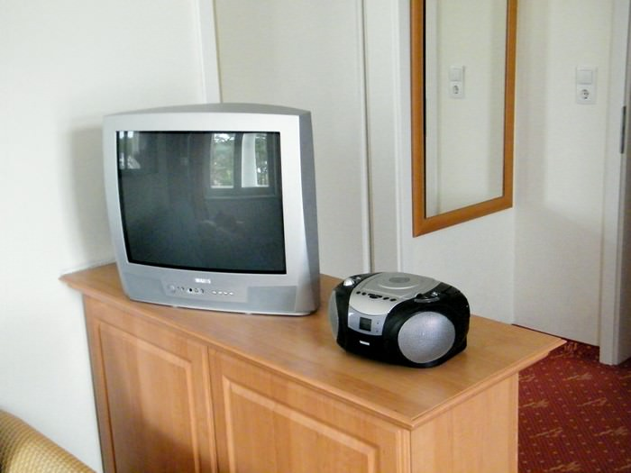 Fernseher und Radio im Wohnzimmer (exemplarisch)