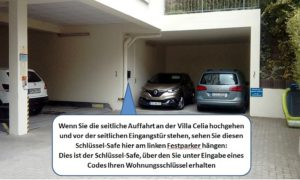 Villa Celia - Position des Schlüssel-Safes